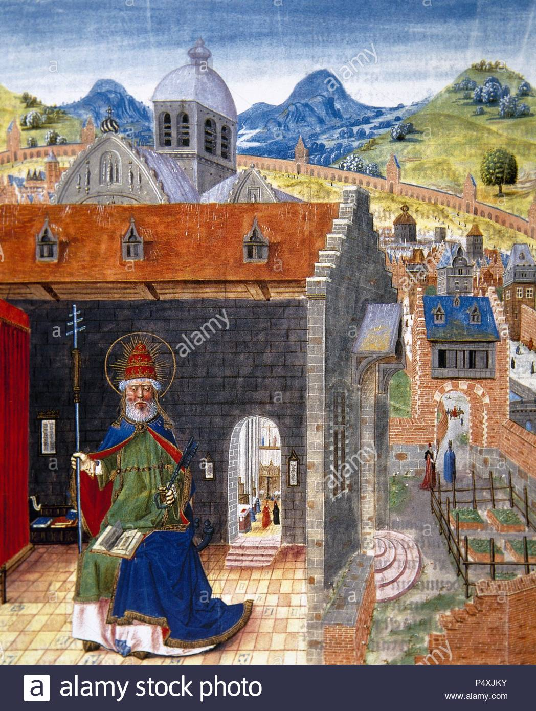 Liber Floridus (Book of Flowers). Medieval encyclopedia, 1090-1120 by Lambert, Canon of Saint-Omer. Miniature depicting Saint Peter and the city of Rome. Manuscript of the15th century. Conde Museum. Chateau of Chantilly. France. - Stock Image