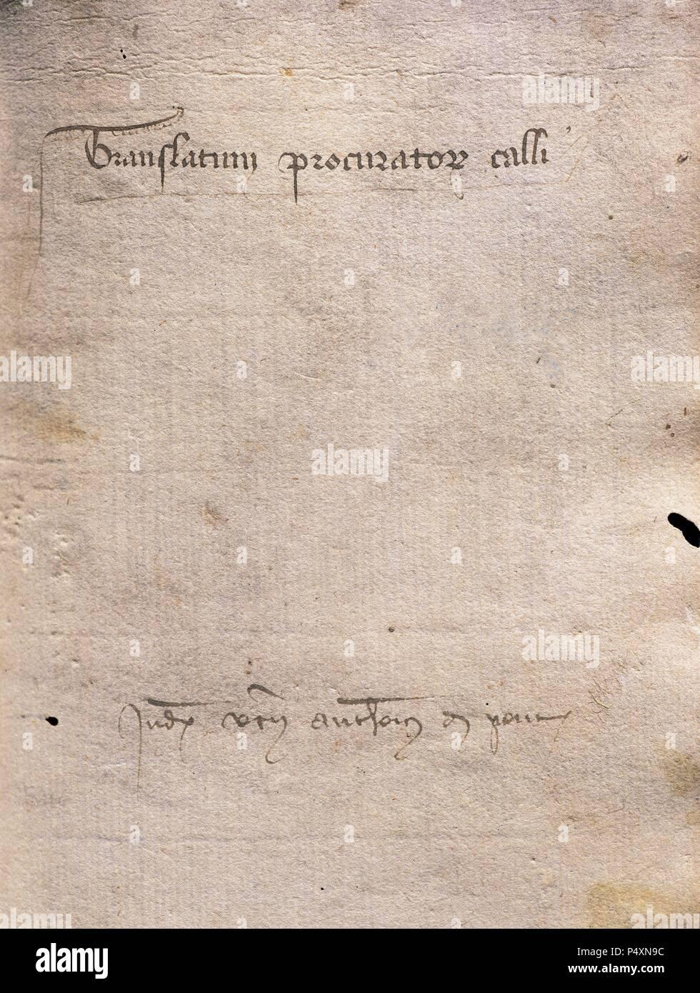 Translatum Procuratoris Calli Judeorum Barchinone. 1409. Title cover of a document on a debt. Diocesan Archive. Barcelona. Catalonia. Spain. - Stock Image