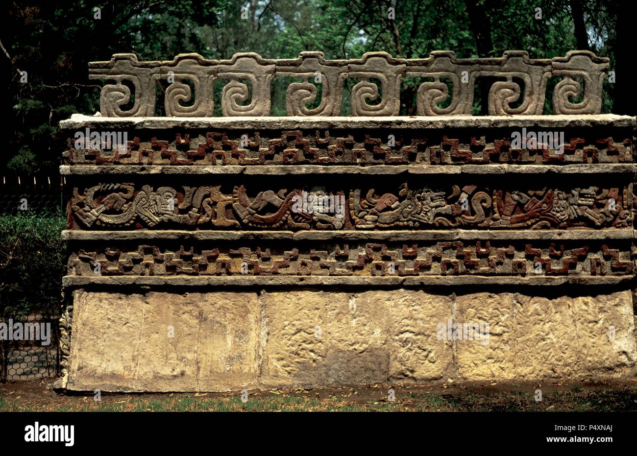 Pre-Columbian Art. Tula. Coatepantli or Serpent Wall.  Toltec civilization. Post-Classic Period. 900-1200 A.C. Back of the Temple of Quetzalcoatl. Museum of Anthropology. Mexico. - Stock Image