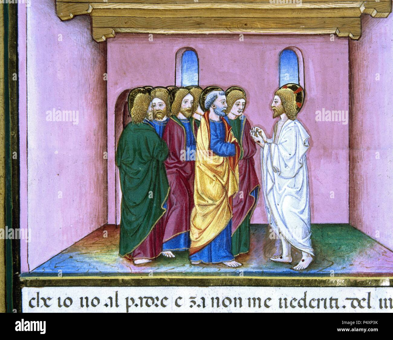 Risen Jesus announces to the disciples the coming of the Holy Spirit. Illuminated pages of the Codex of Predis (1476). Royal Library. Turin. Italy. - Stock Image