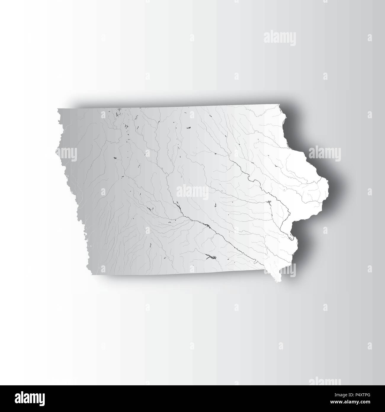 Us States Map Of Iowa With Paper Cut Effect Hand Made Rivers - Iowa-on-a-us-map