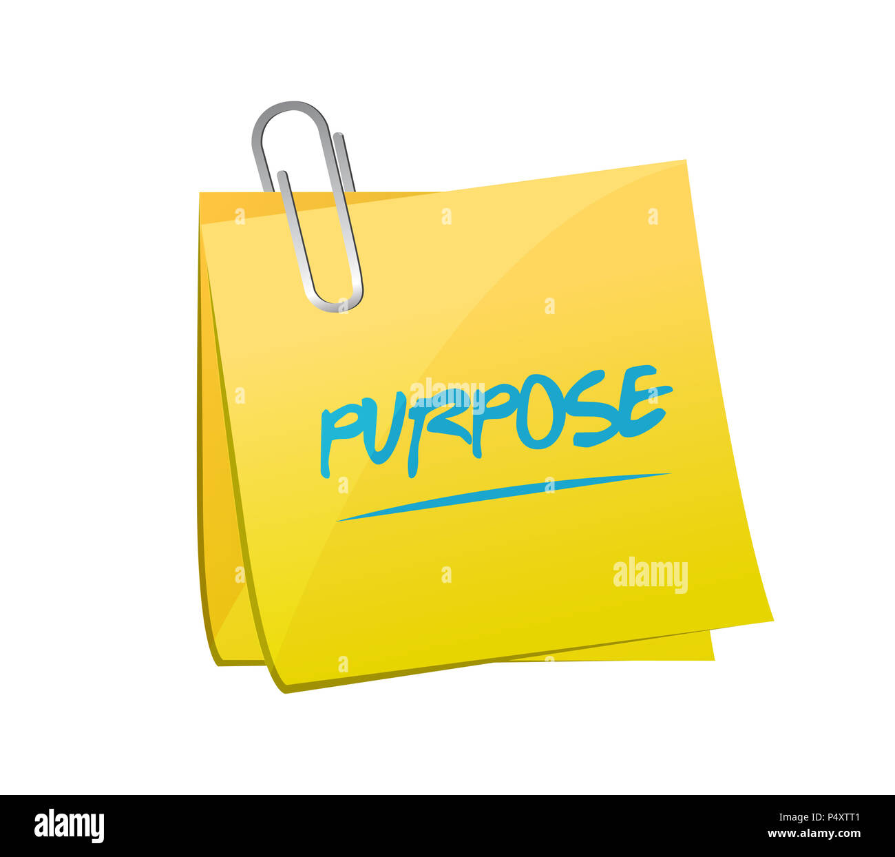 pursose note message. hand written note. isolated over a white background - Stock Image