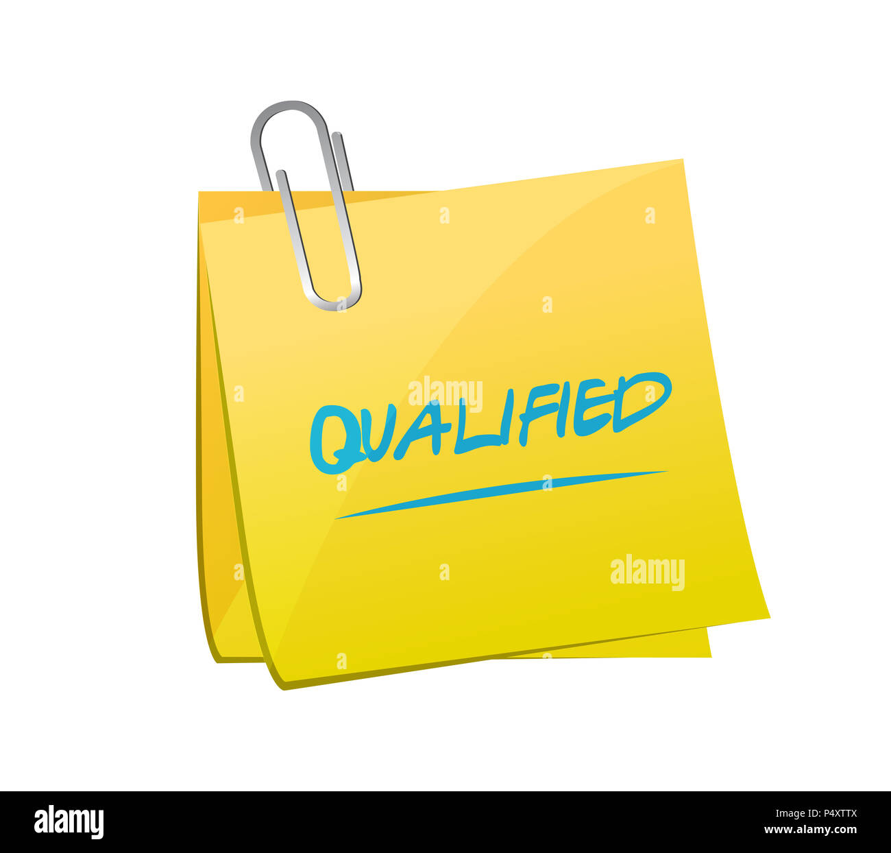 Qualified post message. hand written note. isolated over a white background - Stock Image