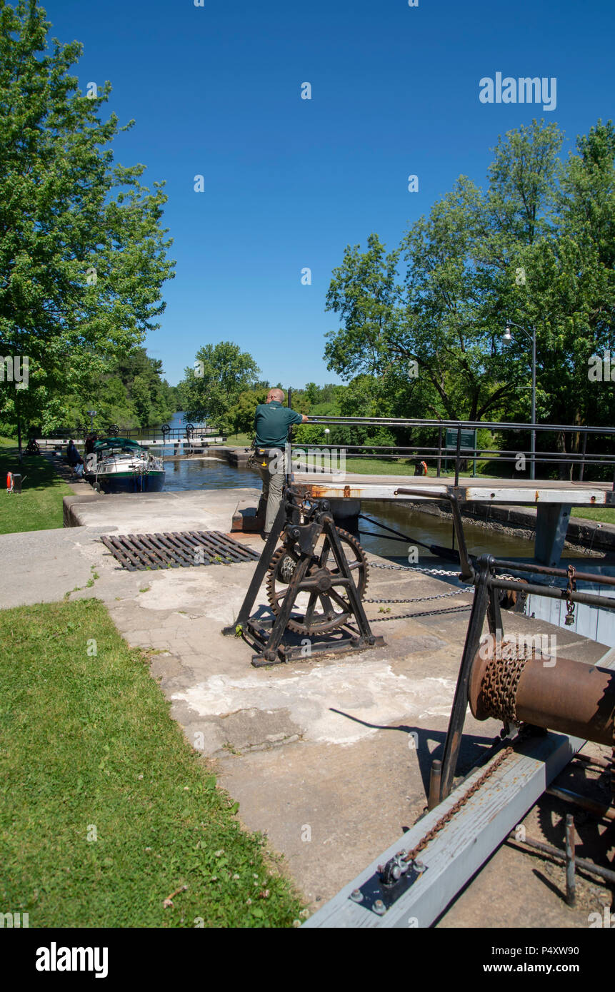 The Rideau Canal opened in 1832 connects Ottawa to the Great Lakes and St. Lawrence River running 202 kilometers. There are many locks all manually op - Stock Image