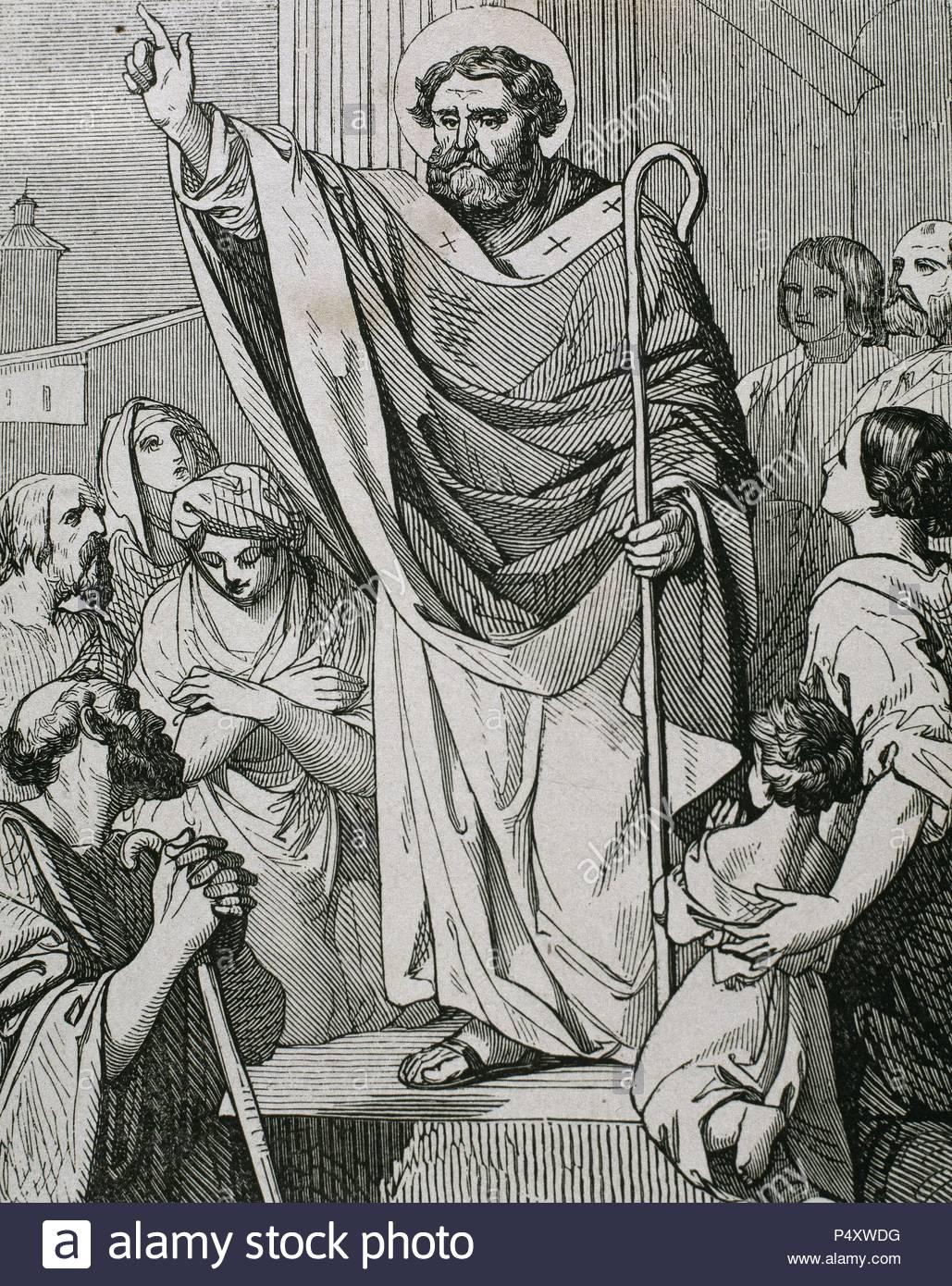 SAN PRUDENCIO GALINDO (? -861). Prelado y teólogo español. Huyó a Francia en el año 827, con la invasión musulmana de la península. Fue consejero y capellán de Ludovico Pío y Carlos el Cavo, y Obispo de Troyes desde el 848. S. IX. Grabado. - Stock Image