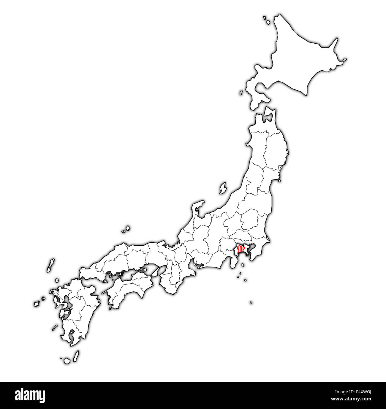kanagawa flag of Troms prefecture on map with administrative divisions and borders of japan - Stock Image
