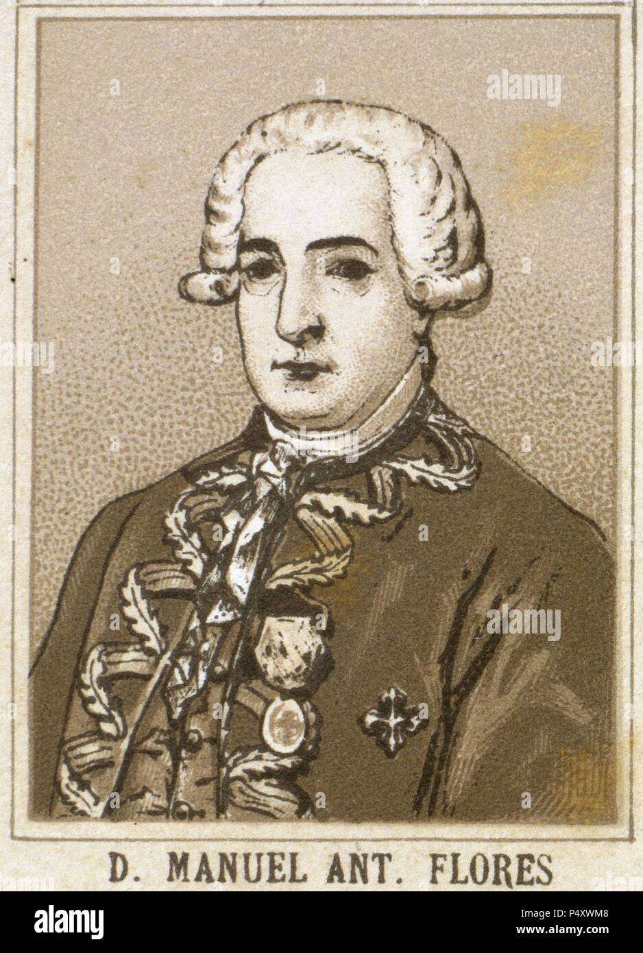 Manuel Antonio Flores (1722-1799). General in the Spanish navy and viceroy  of New Granada (1776-1781) and New Spain (1787-1789). Engraving.