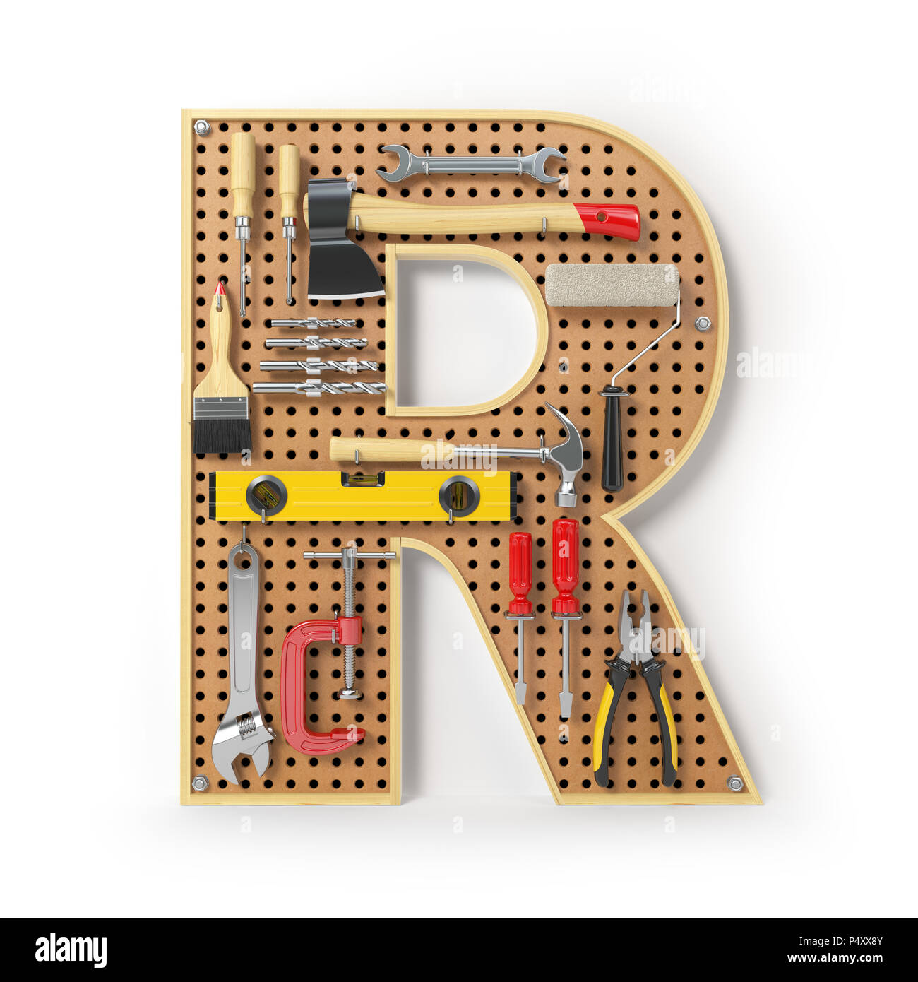 Letter R. Alphabet from the tools on the metal pegboard isolated on white.  3d illustration - Stock Image
