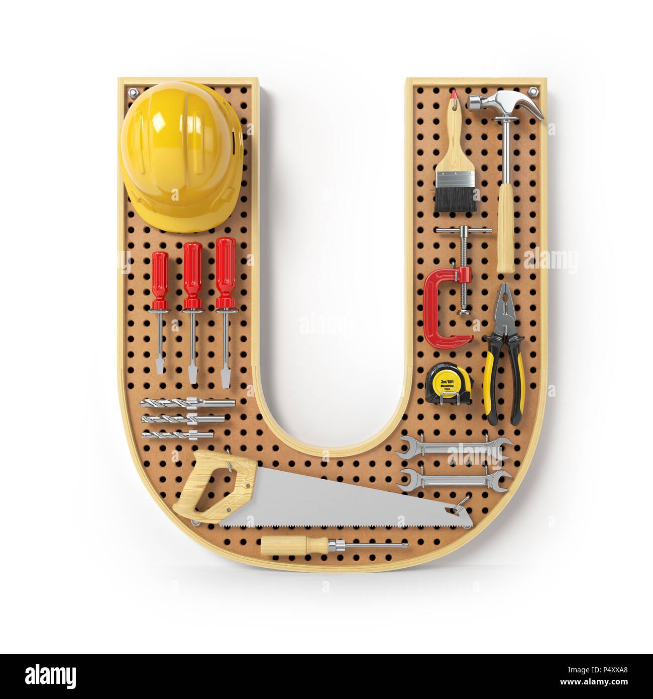 Letter U. Alphabet from the tools on the metal pegboard isolated on white.  3d illustration - Stock Image