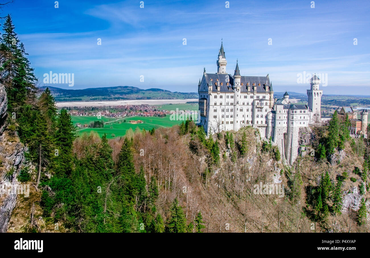 Neuschwanstein Castle, the nineteenth-century Romanesque Revival palace built for King Ludwig II on a rugged cliff near Fussen, Bavaria, Germany Stock Photo
