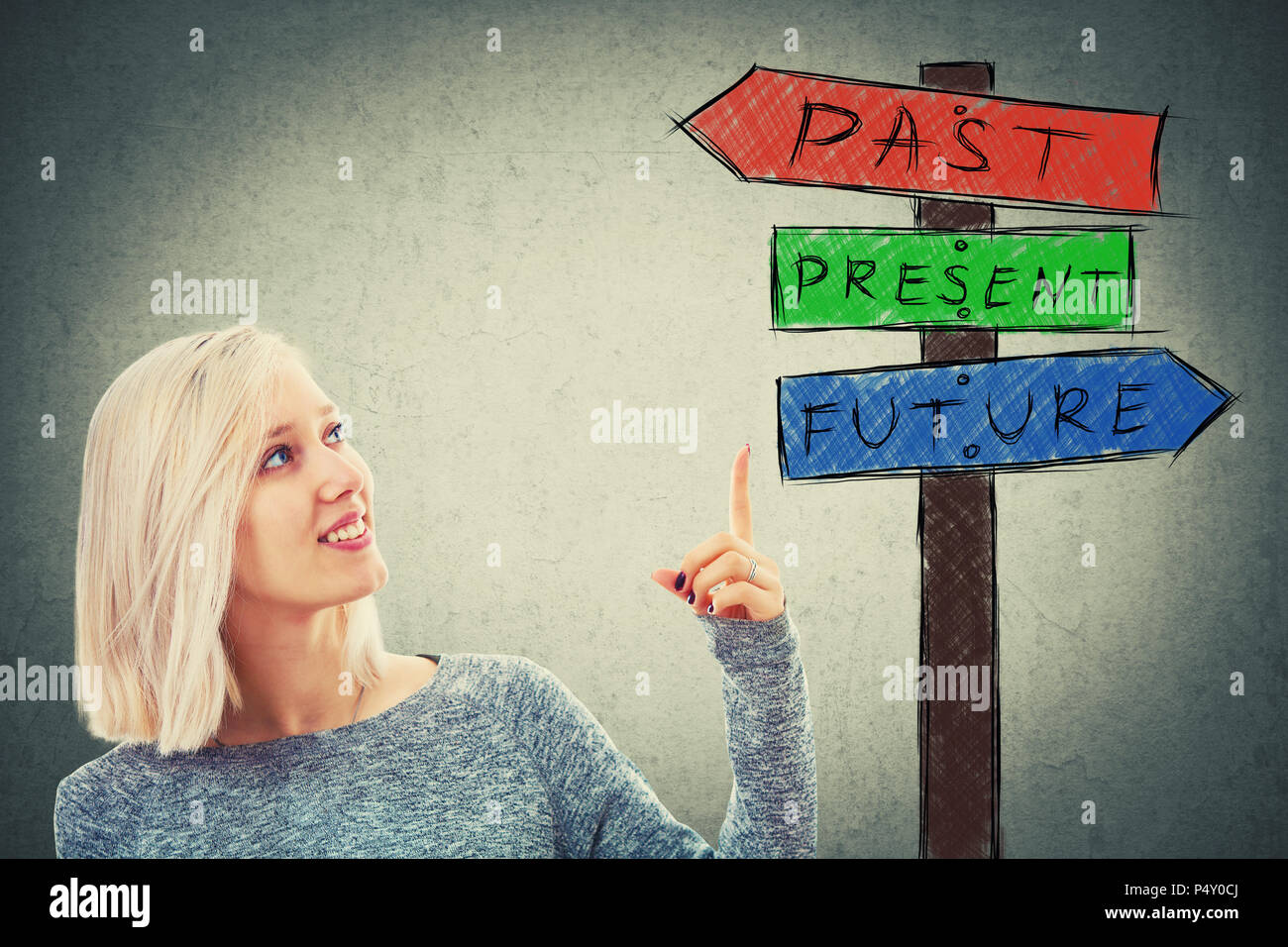 Young cheerful businesswoman pointing finger to a signpost choosing from arrows showing past, present and future. Lost in time road sign, destiny evol - Stock Image