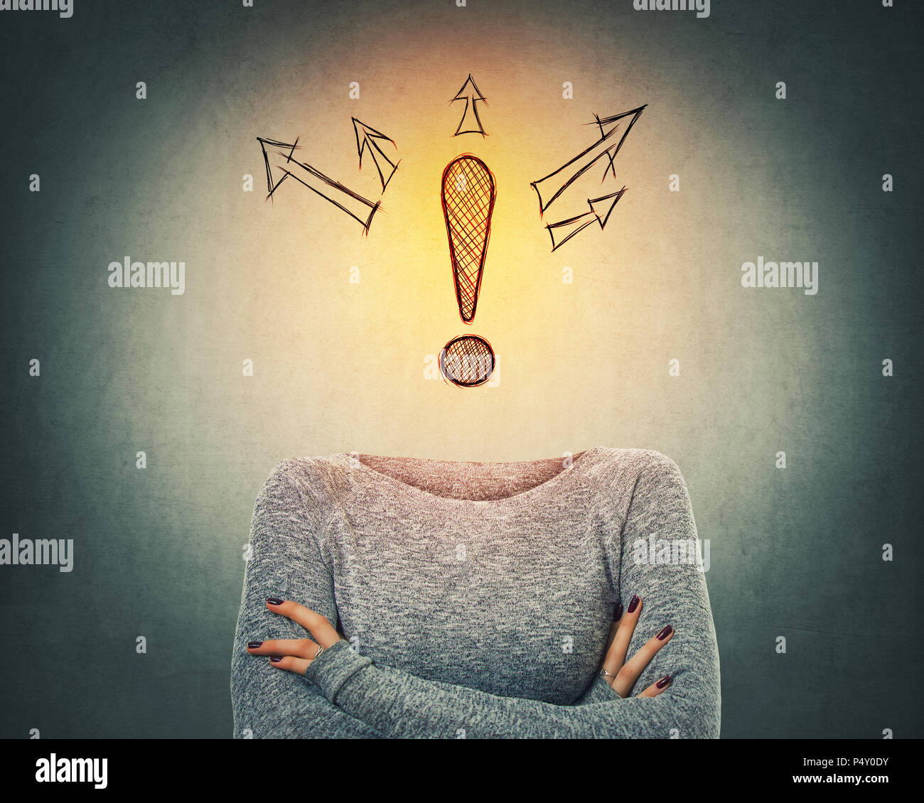 Surreal image as confident woman with crossed hands and drawn exclamation mark instead of head with arrows spread on different sides. Incognito extrov - Stock Image