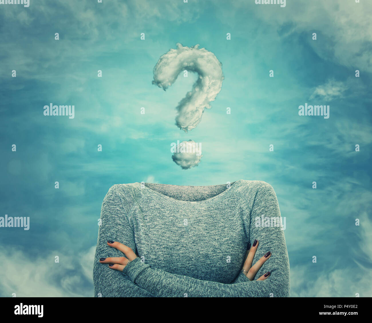 Surreal image as woman with crossed hands and invisible face has a question mark shaped cloud instead of head. Social mask for hiding his identity. In - Stock Image