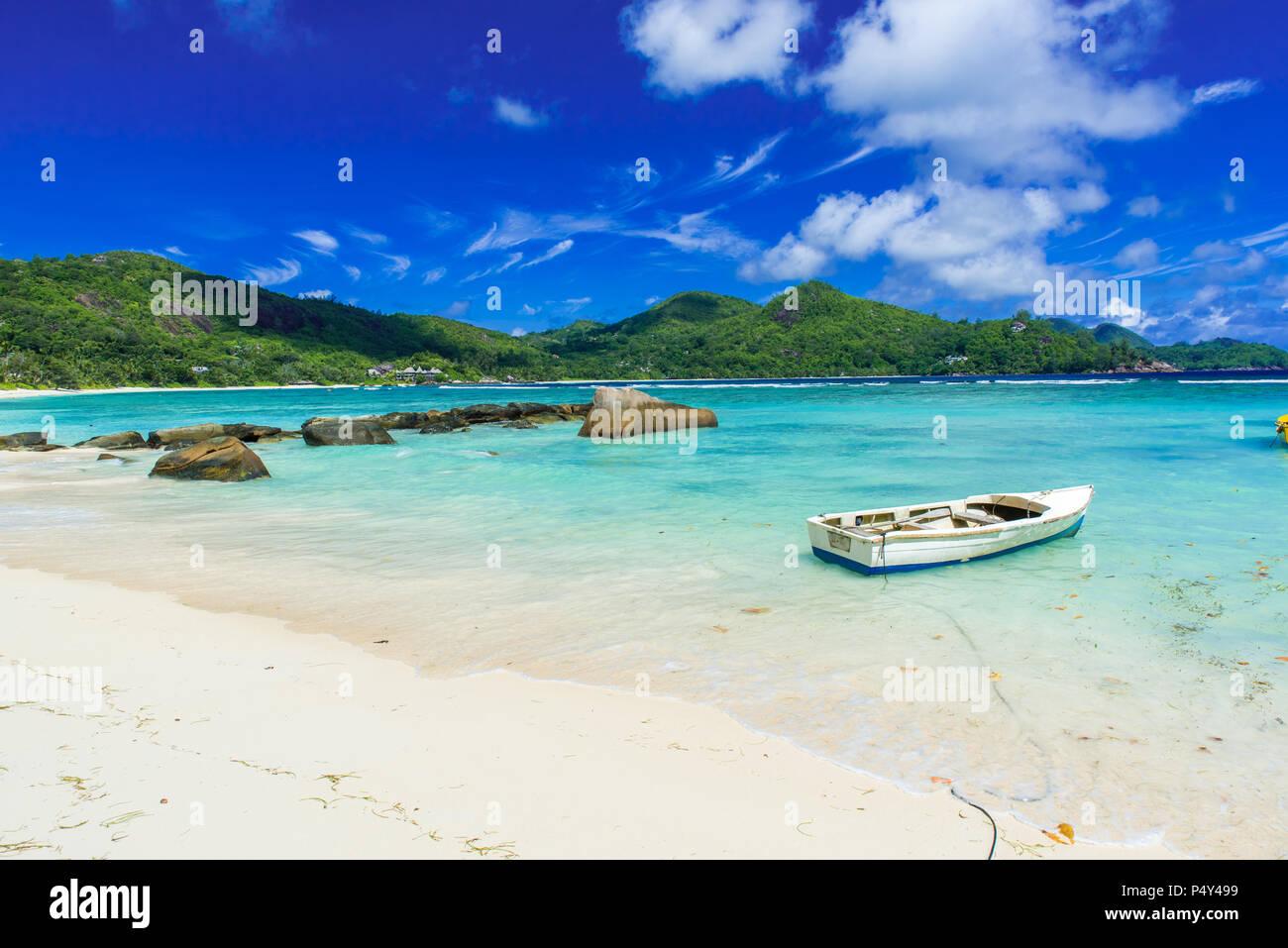 Petite Anse - beautiful beach on island Mahe, Seychelles Stock Photo