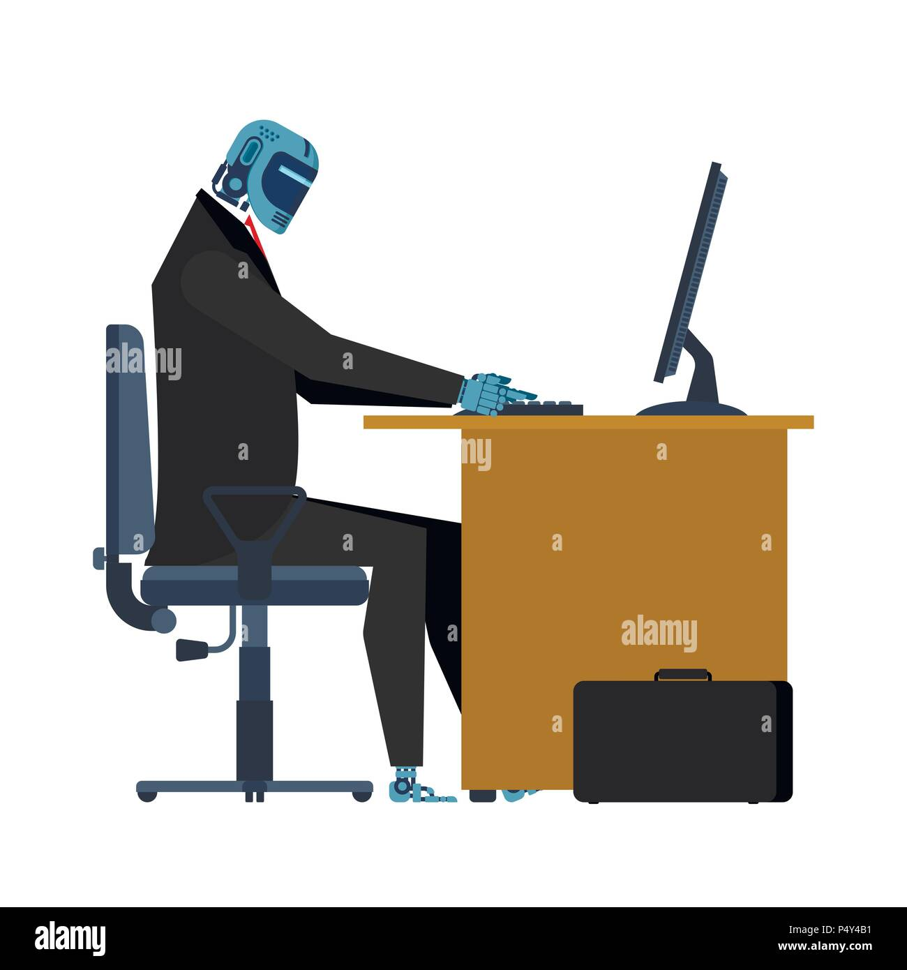 Cyborg at work in table. Office robot. Artificial Intelligence. Vector illustration - Stock Vector
