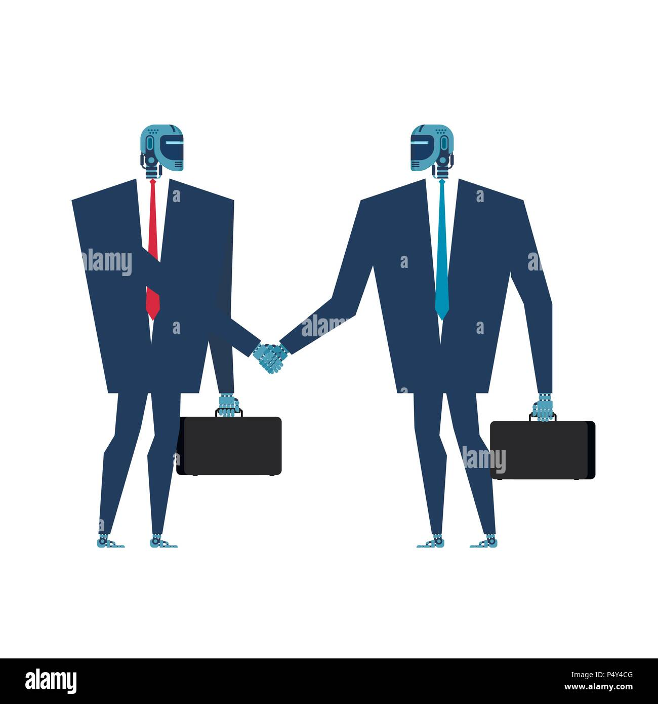 Cyborg handshake. Robot businessman talks. Artificial Intelligence. Vector illustration - Stock Vector