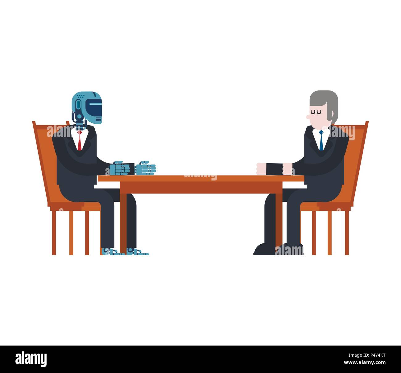 Cyborg and businessman talks. Robot and man at table. Artificial Intelligence. Vector illustration - Stock Vector