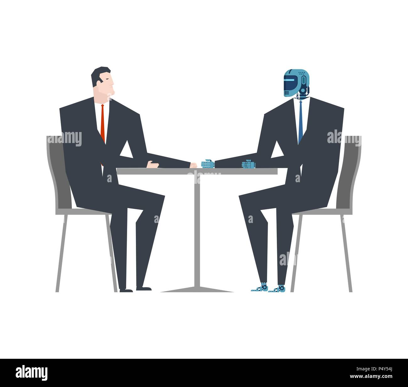 Cyborg and businessman talks. Robot and man at table. Artificial Intelligence. Vector illustration Stock Vector