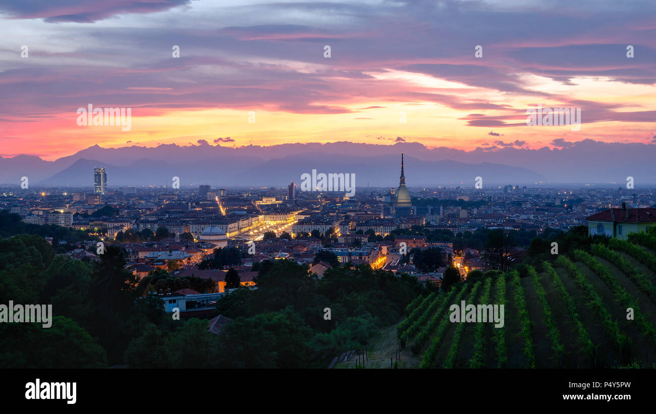 Turin high definition panorama at sunset with Mole Antonelliana Stock Photo