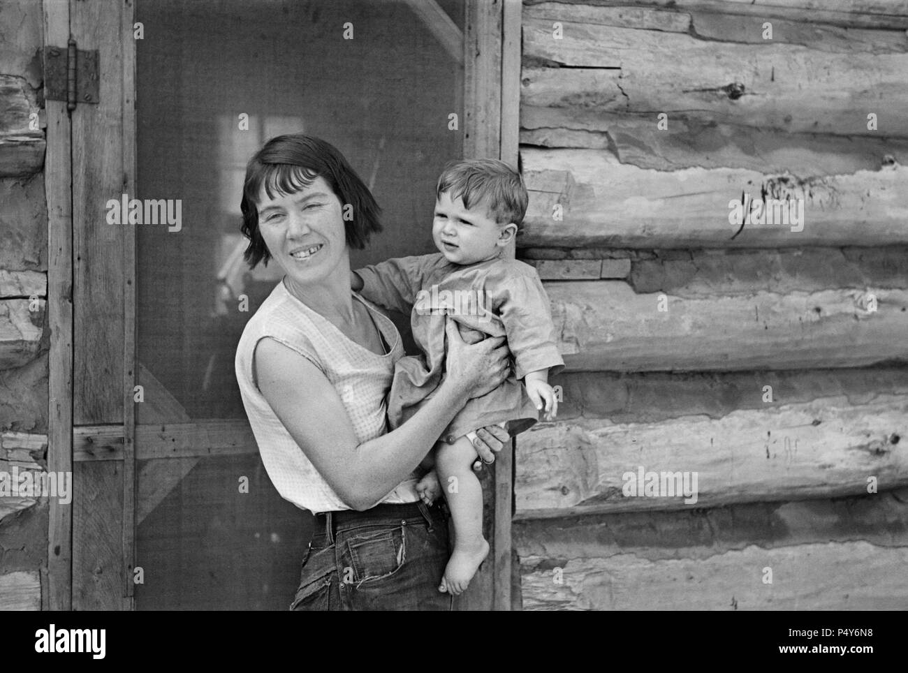 Mrs. Huravitch and Youngest Son, Williams County, North Dakota, USA, Russell Lee, U.S. Resettlement Administration, September 1937 - Stock Image