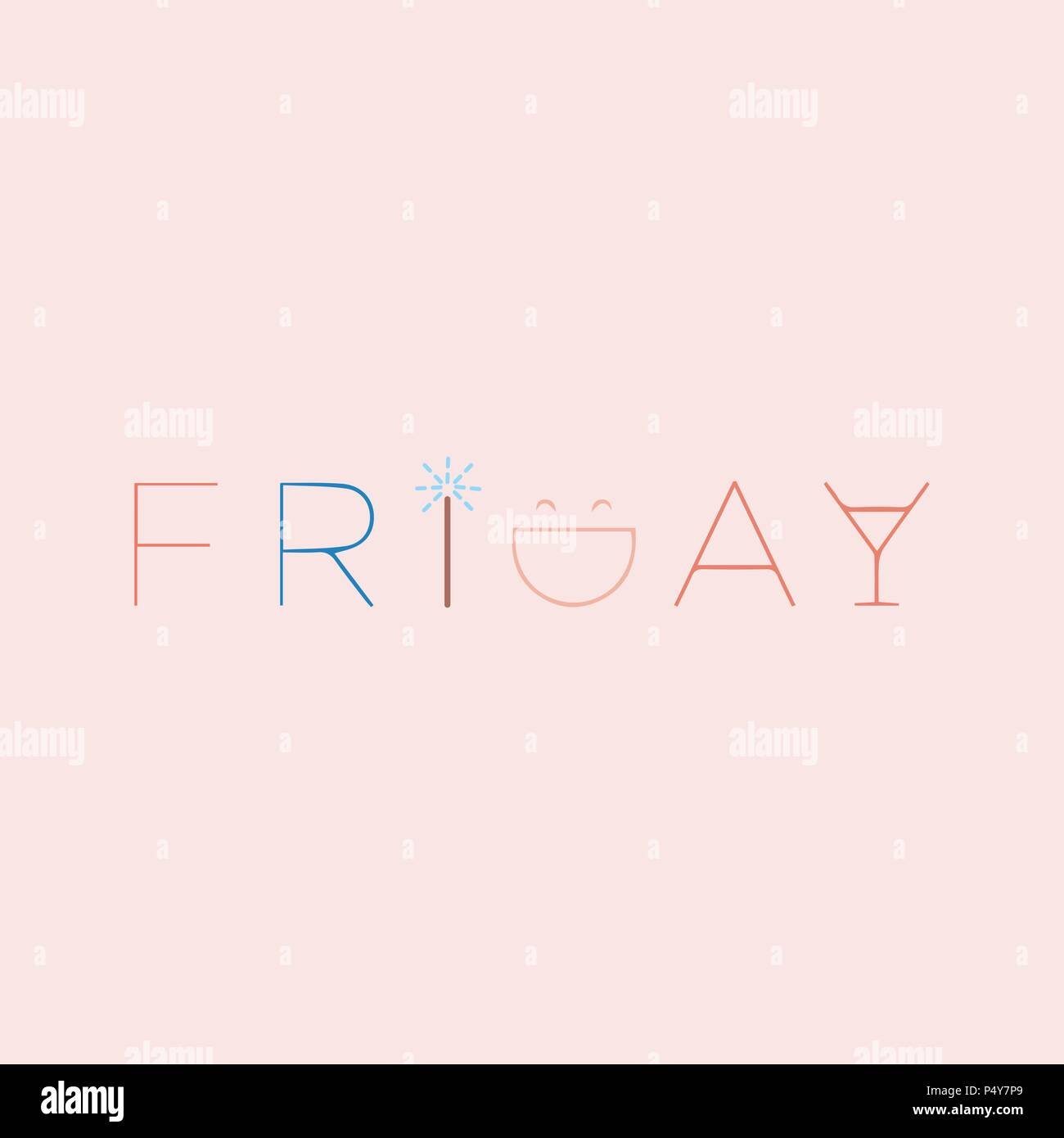 Friday Beautiful lettering. Vector illustration of the text. Gentle pink background. - Stock Vector