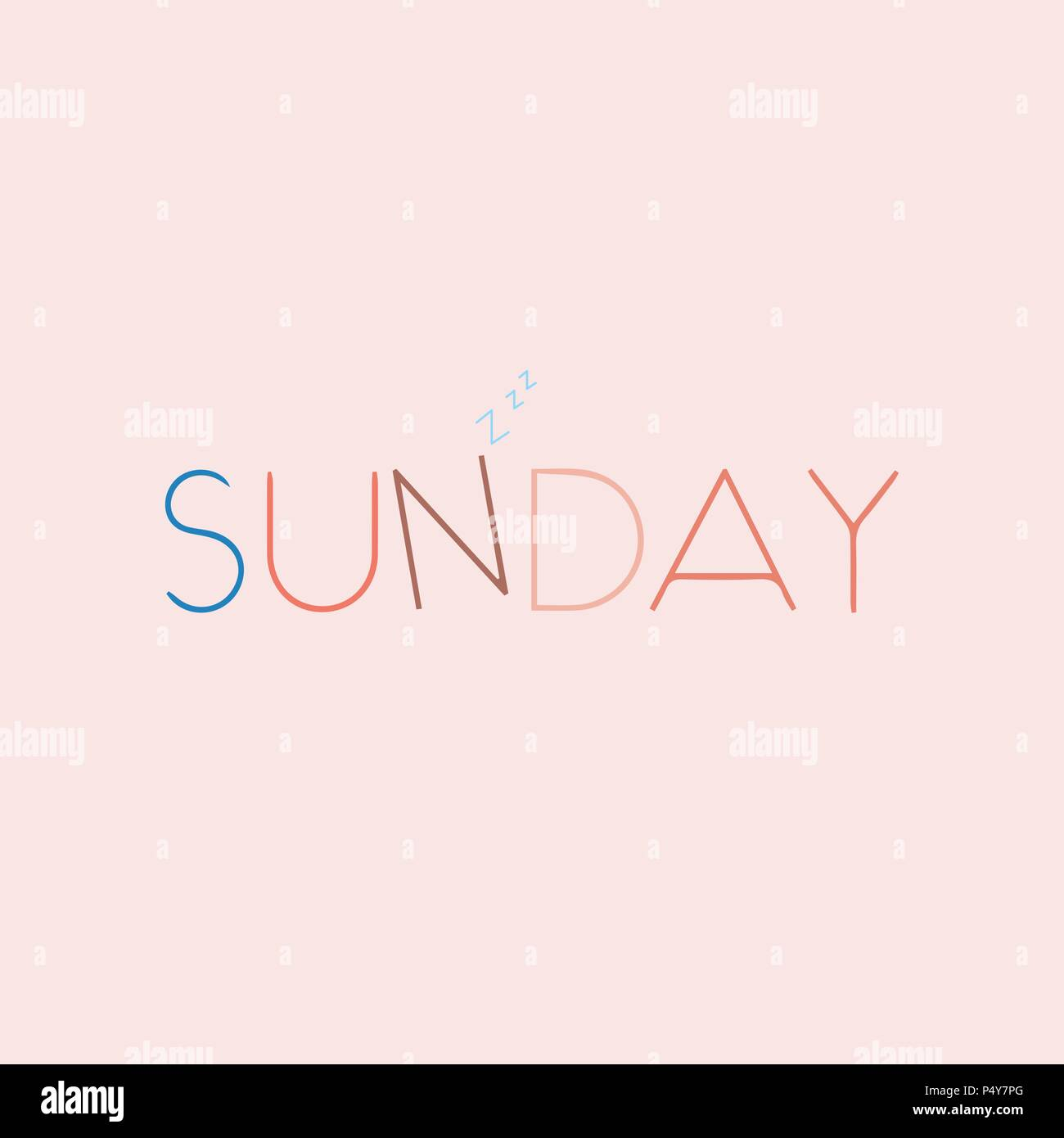 Sunday Beautiful lettering. Vector illustration of the text. Gentle pink background. - Stock Vector