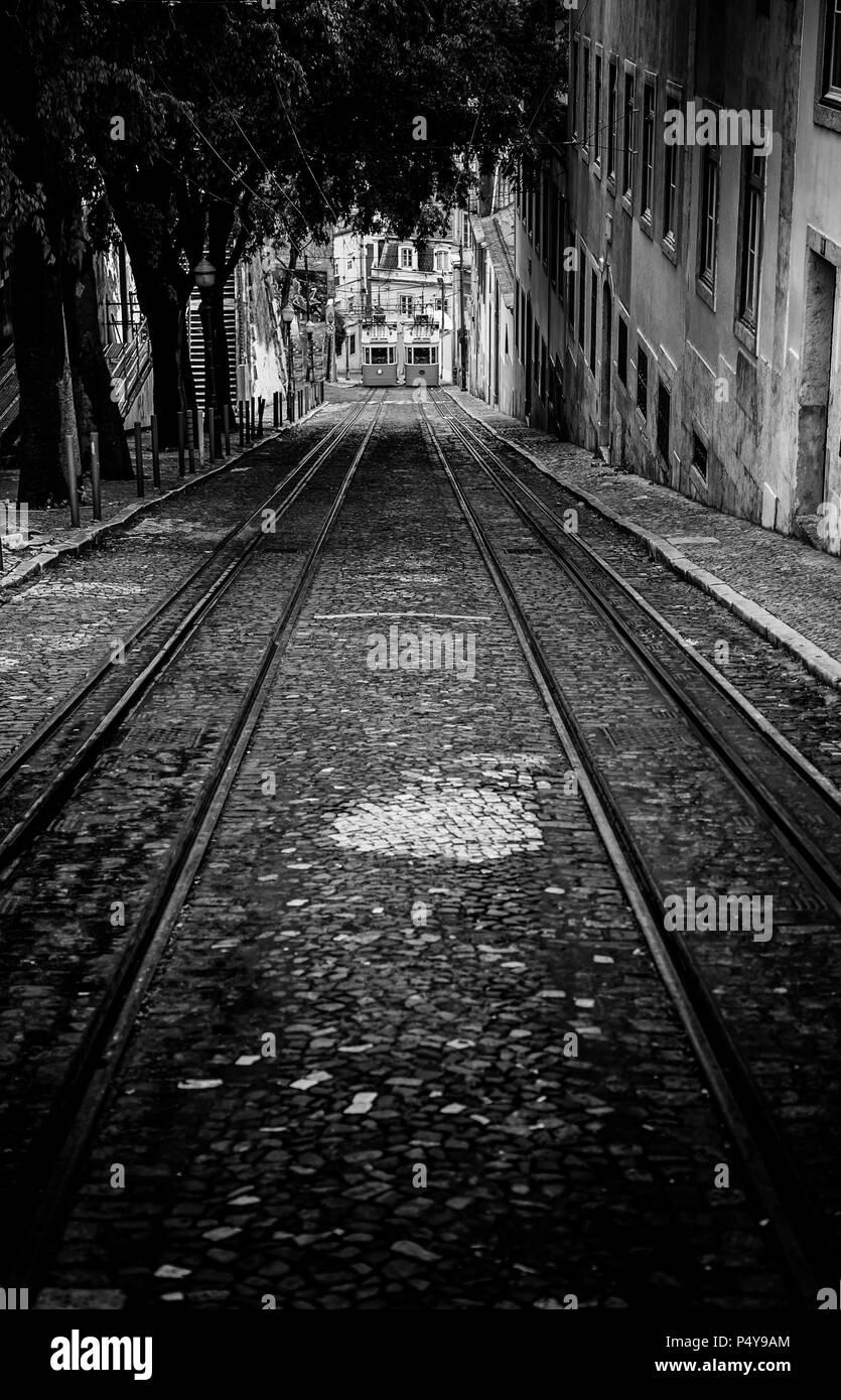 Old trams in Lisbon, detail of an old city transport, ancient art, tourism in the city - Stock Image