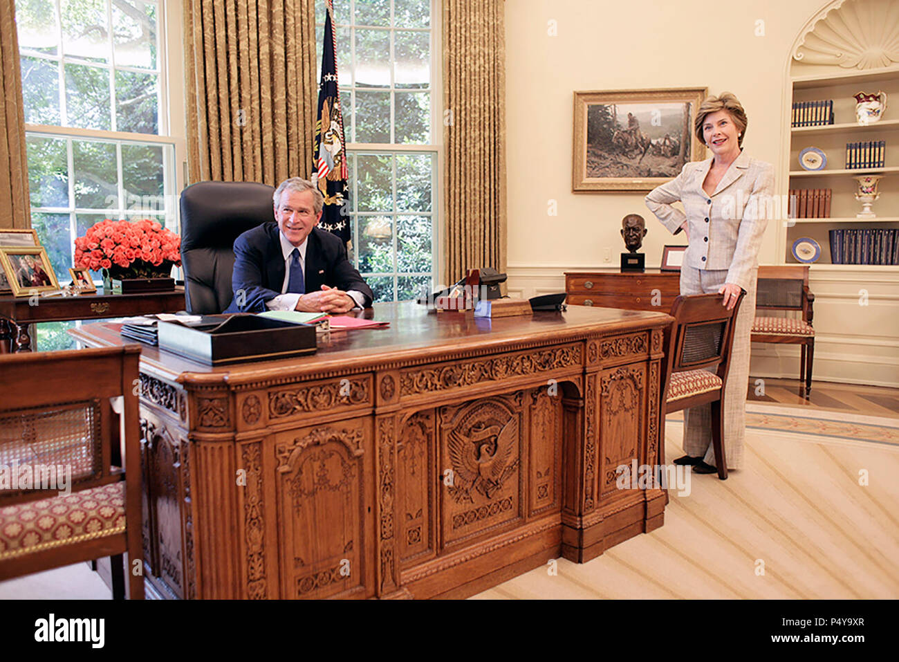 george bush oval office. Mrs. Laura Bush Joins President George W. In The Oval Office Of  White House, May 31, 2005. Photo By Eric Draper, Courtesy George Bush Oval Office O