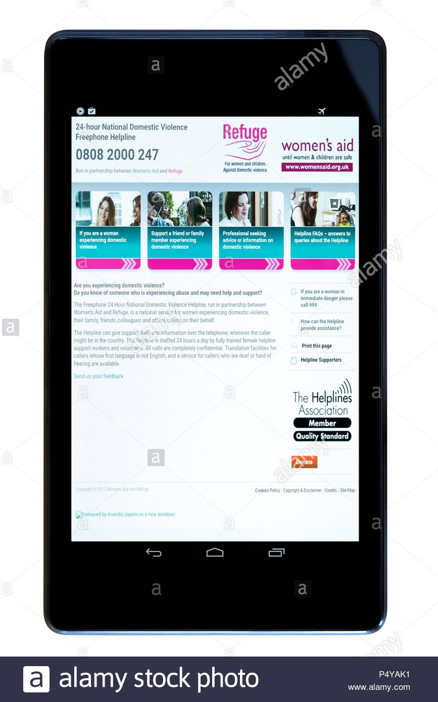 Women's Aid Refuge app on an android tablet PC Dorset England UK Stock Photo