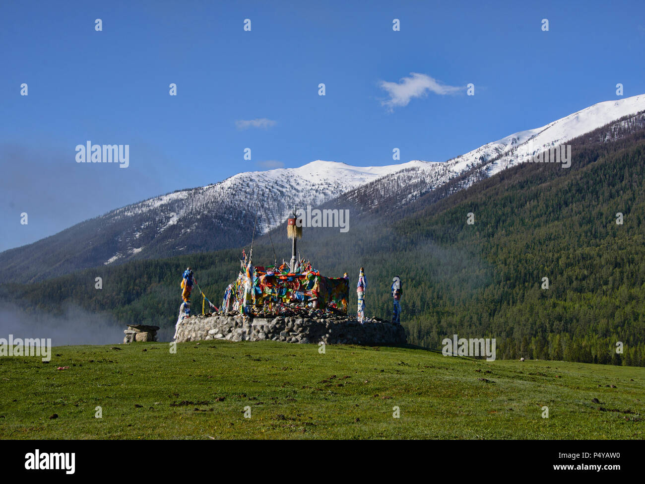 Kazakh stupa and prayer flags, Kanas Lake National Park, Xinjiang, China Stock Photo