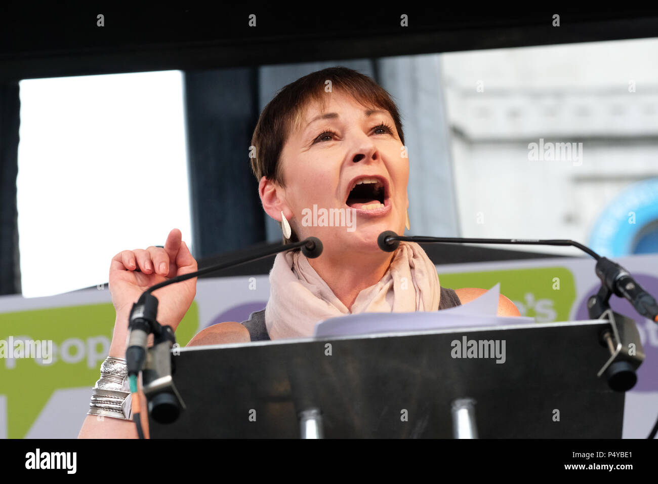 People's Vote, London, UK - 23rd June 2018. - Caroline Lucas joint leader of the Green Party speaks to the crowd at the People's Vote march gathered in Parliament Square, London to demand a second vote on the final Brexit deal - Steven May /Alamy Live News Stock Photo