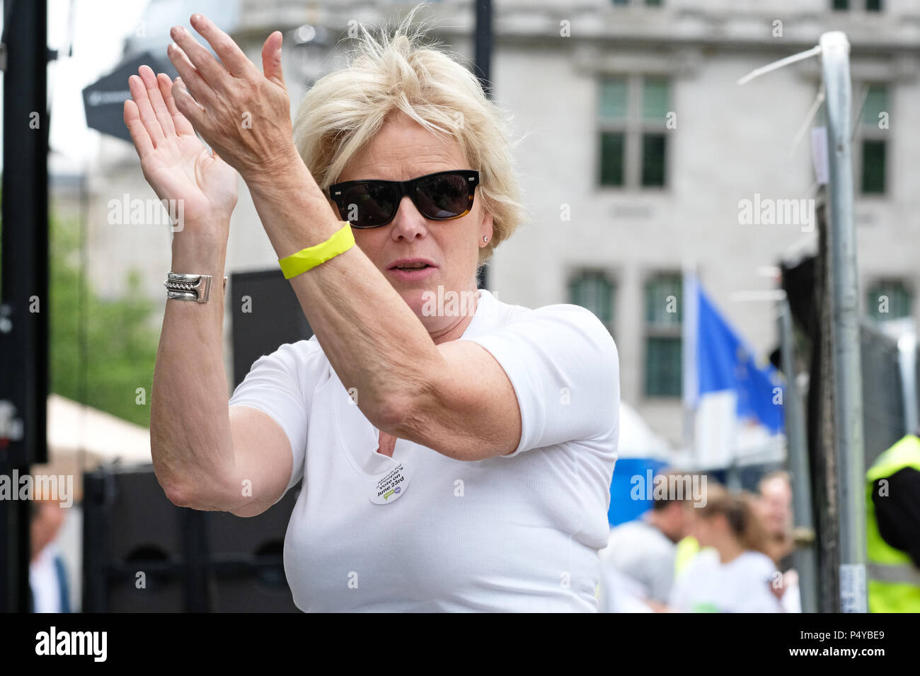 People's Vote march London, UK,  23rd June 2018. - Conservative MP Anna Soubry backstage applauding the speakers at the People's Vote demonstration as they demand a second vote on the final Brexit deal - Steven May /Alamy Live News - Stock Image