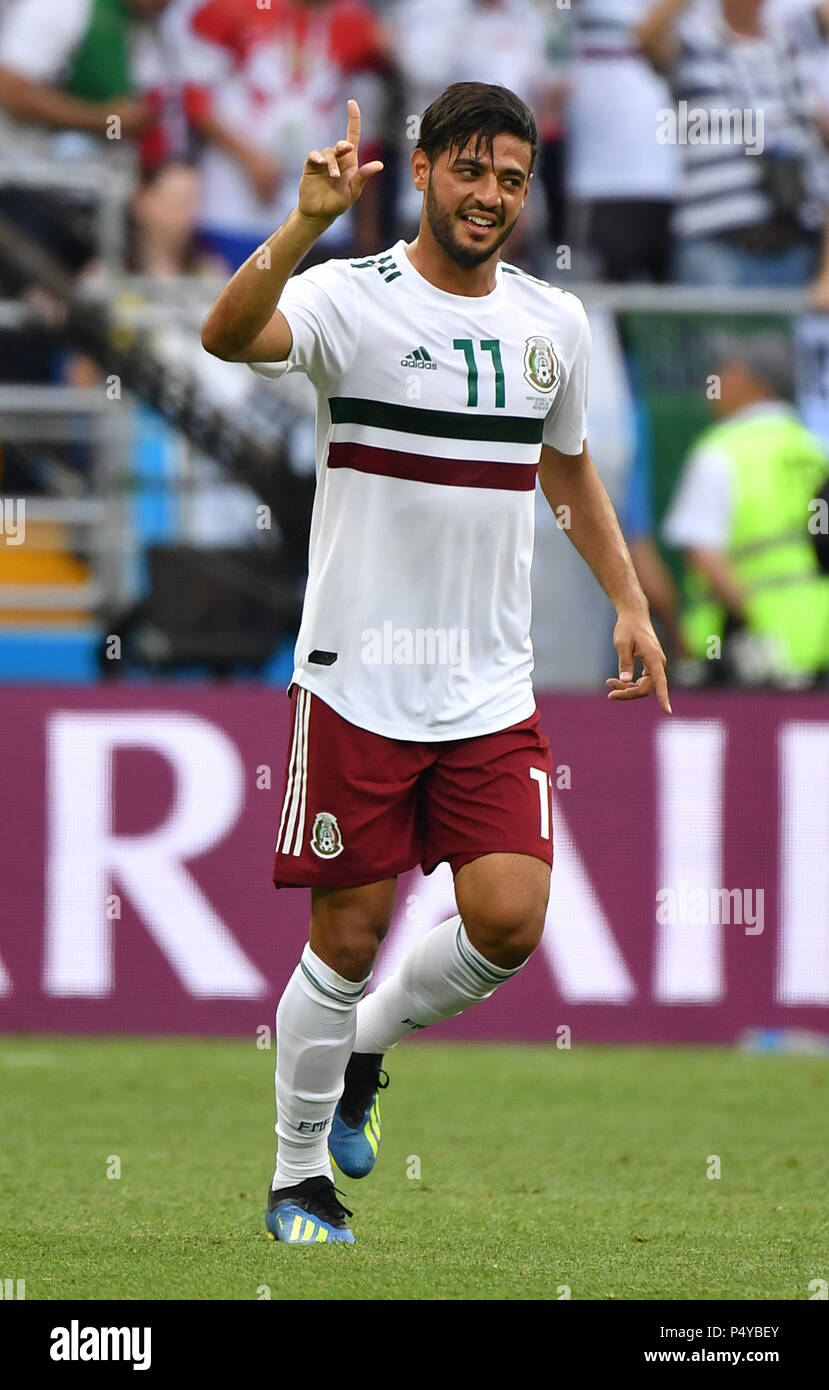 7e9c3a9063a Carlos Vela of Mexico celebrates scoring during the 2018 FIFA World Cup Group  F match between South Korea and Mexico in Rostov-on-Don