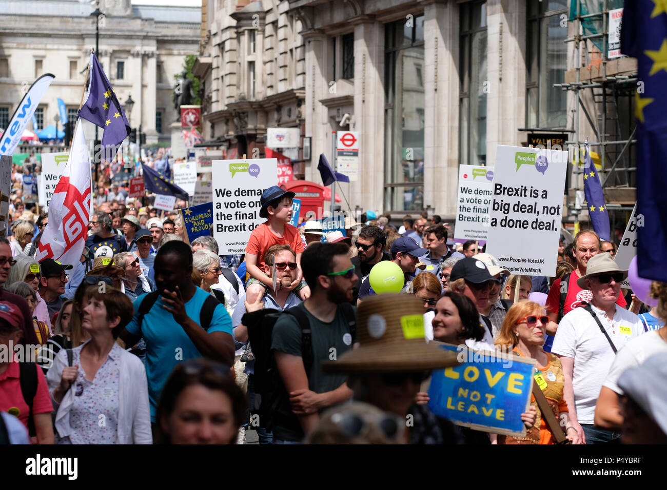 People's Vote march demonstration London, UK,  23rd June 2018. Protestors march along Whitehall en route Parliament Square to demand a second vote on the final Brexit deal - Steven May /Alamy Live News - Stock Image