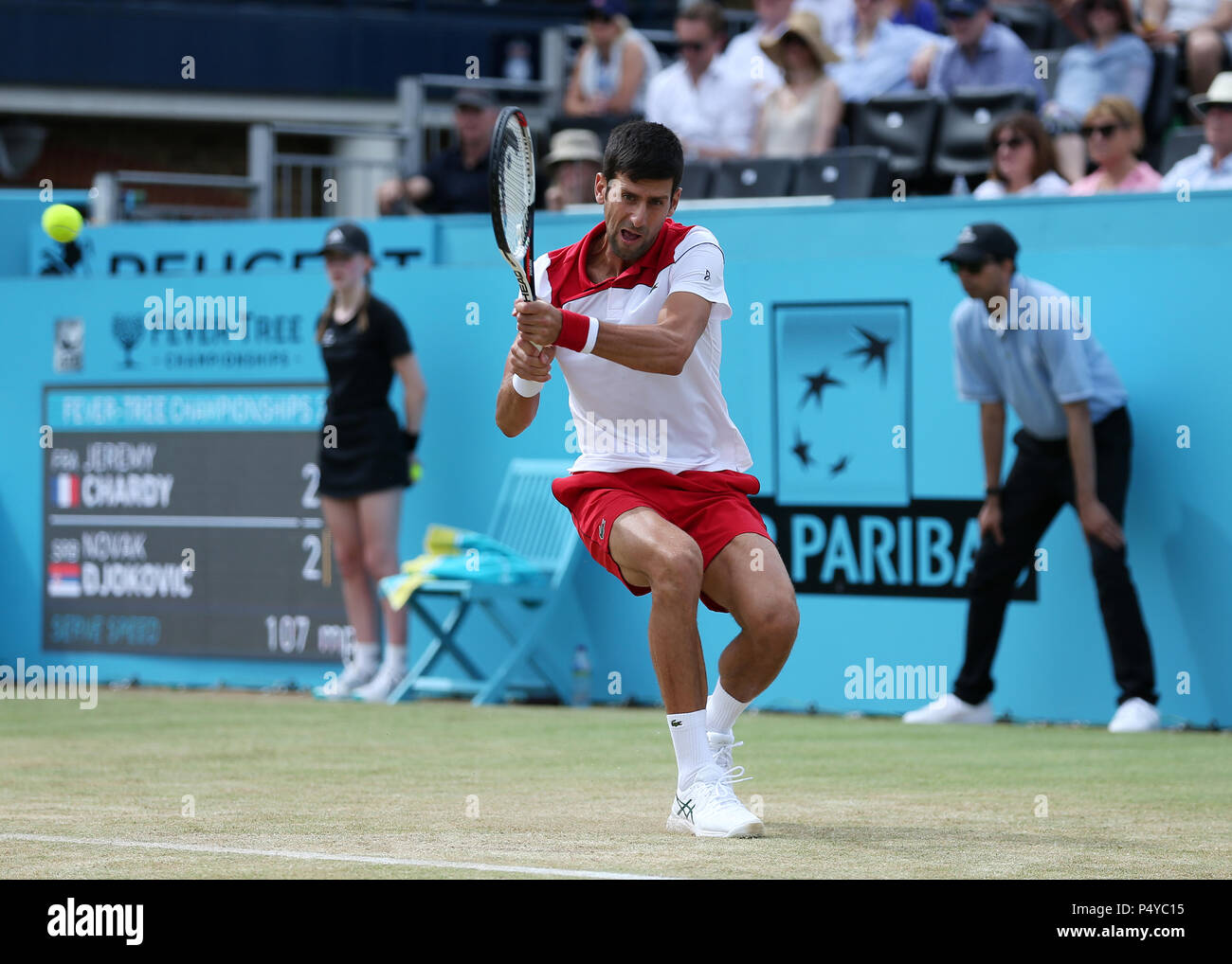 The Fever Tree Tennis Championships  Novak Djokovic (SRB) with a backhand  shot Credit  Action Plus Sports Alamy Live News 7e7aa8b68d295