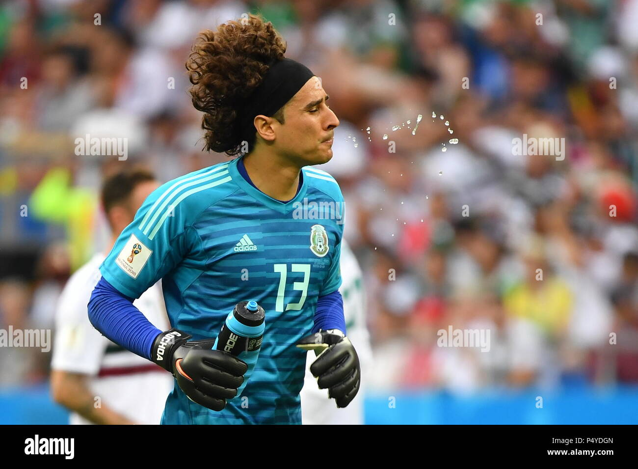 b032aa14286 23rd June, 2018. Goalkeeper Guillermo Ochoa of Mexico reacts during the 2018  FIFA World Cup Group F match between South Korea and Mexico in  Rostov-on-Don, ...