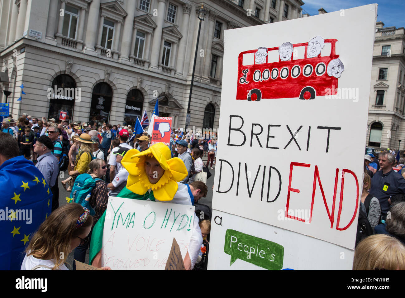 London, UK. 23rd June 2018. Tens of thousands of people representing a coalition of pro-EU groups march through central London on the second anniversary of the referendum to call for a 'People's Vote' on any Brexit deal proposed by the Government to manage its future relationship with the European Union. Credit: Mark Kerrison/Alamy Live News - Stock Image