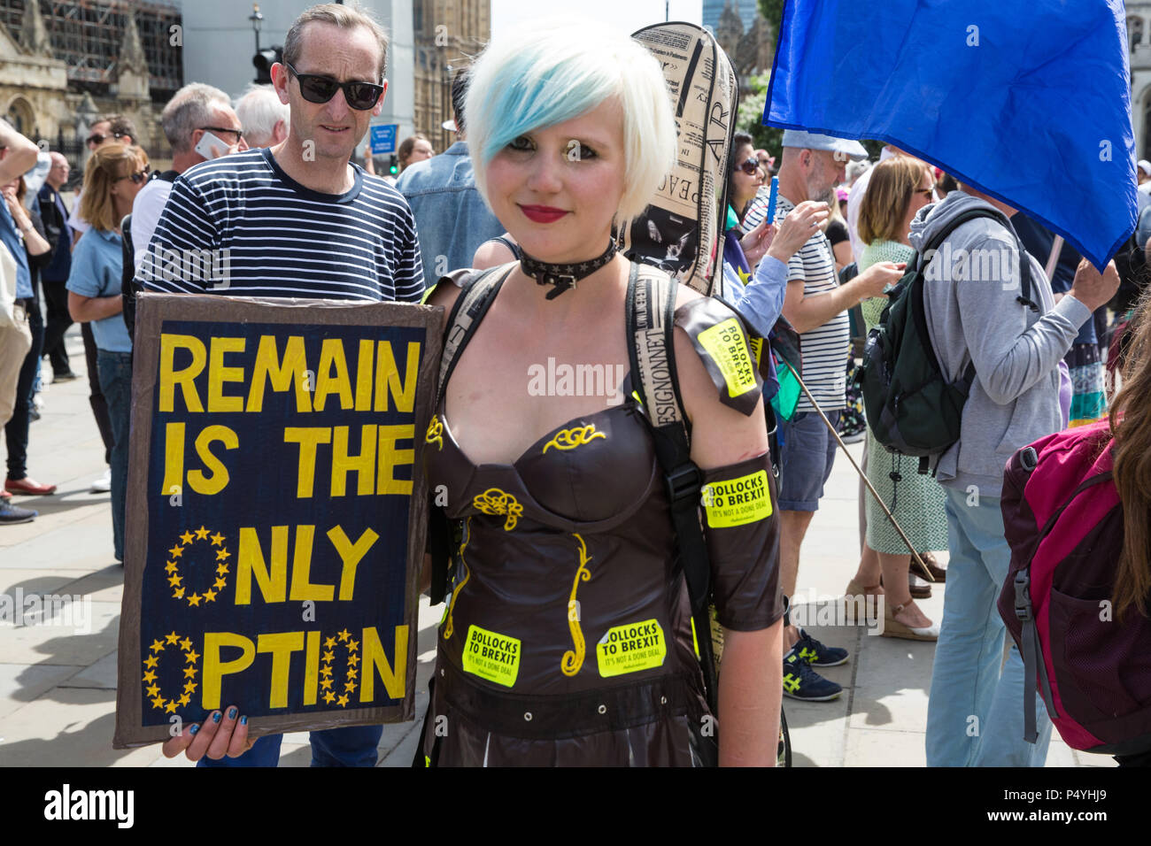 London, UK. 23rd June 2018. Madeleina Kay, EU Supergirl, marches through central London with tens of thousands of people representing a coalition of pro-EU groups on the second anniversary of the referendum to call for a 'People's Vote' on any Brexit deal proposed by the Government to manage its future relationship with the European Union. Credit: Mark Kerrison/Alamy Live News - Stock Image