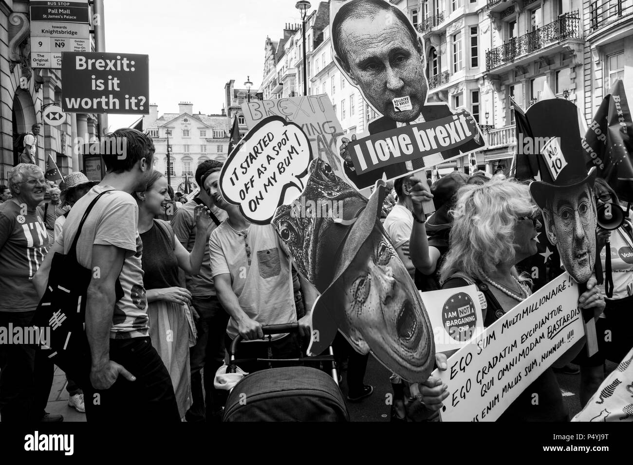 """London, UK. 23rd June 2018. More than 100,000 people have marched through central London to demand a final vote on any UK exit deal, on the second anniversary of the Brexit vote. Anti-Brexit marchers travelled from across the country to join the rally, organised by a number of Westminster-based and grassroots lobbying groups and marks the launch of a nationwide petition for a """"People's Vote"""". London, UK. 23 June 2018 - Stock Image"""