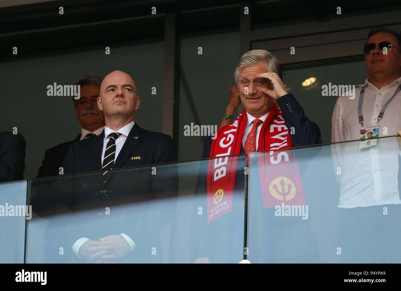 Moscow, Russia. 24th June, 2018. 23.06.2018. Moscow, Russia:President Fifa Infantino with King of Belgium Philippe in the Fifa World Cup Russia 2018, Group C, football match between BELGIUM V TUNISIA in SPARTAK STADIUM in Moscow Stadium Credit: Independent Photo Agency/Alamy Live News - Stock Image