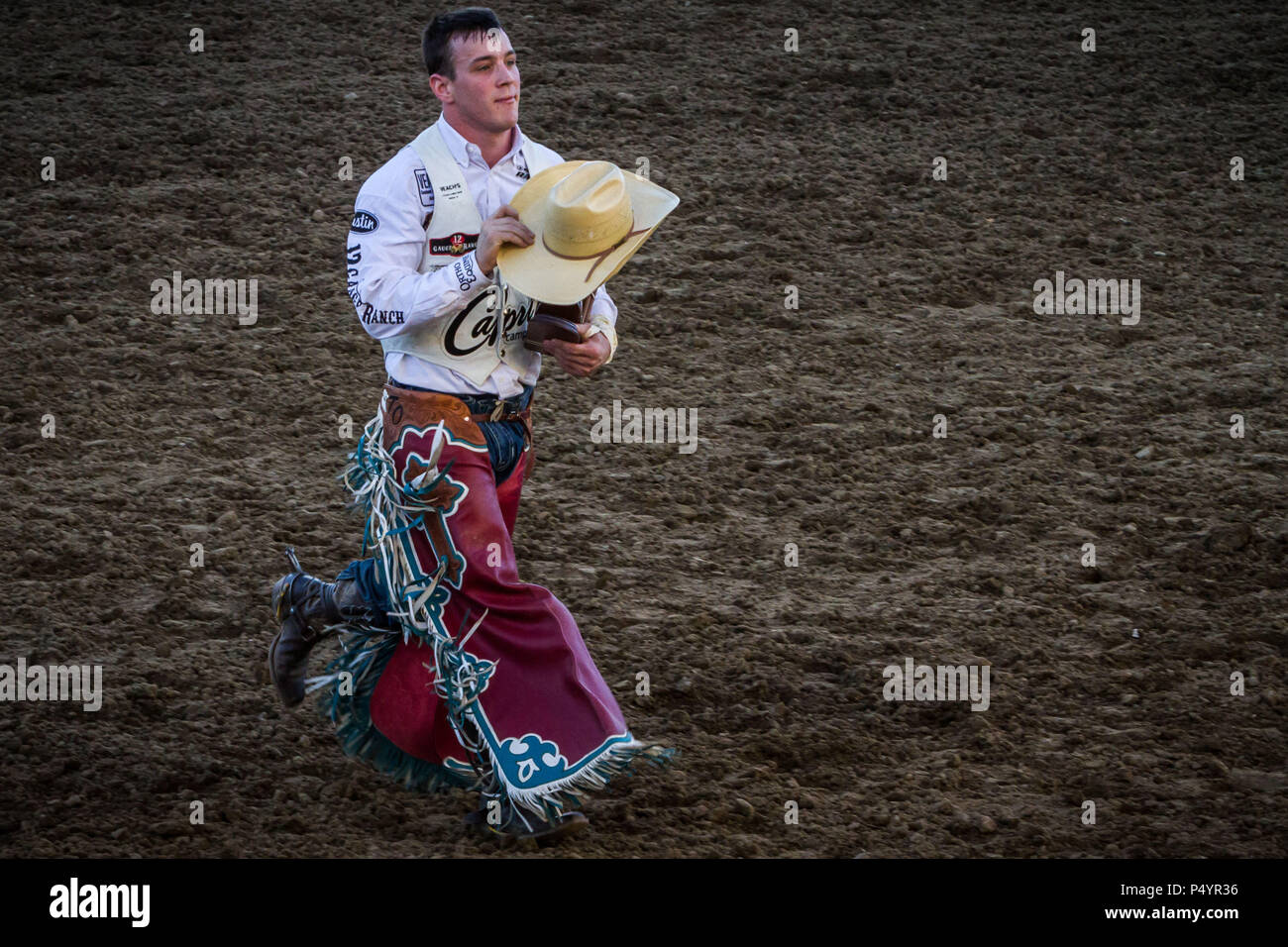 TIM O'CONNELL, of Zwingle, Iowa, walks through the Reno Rodeo ...
