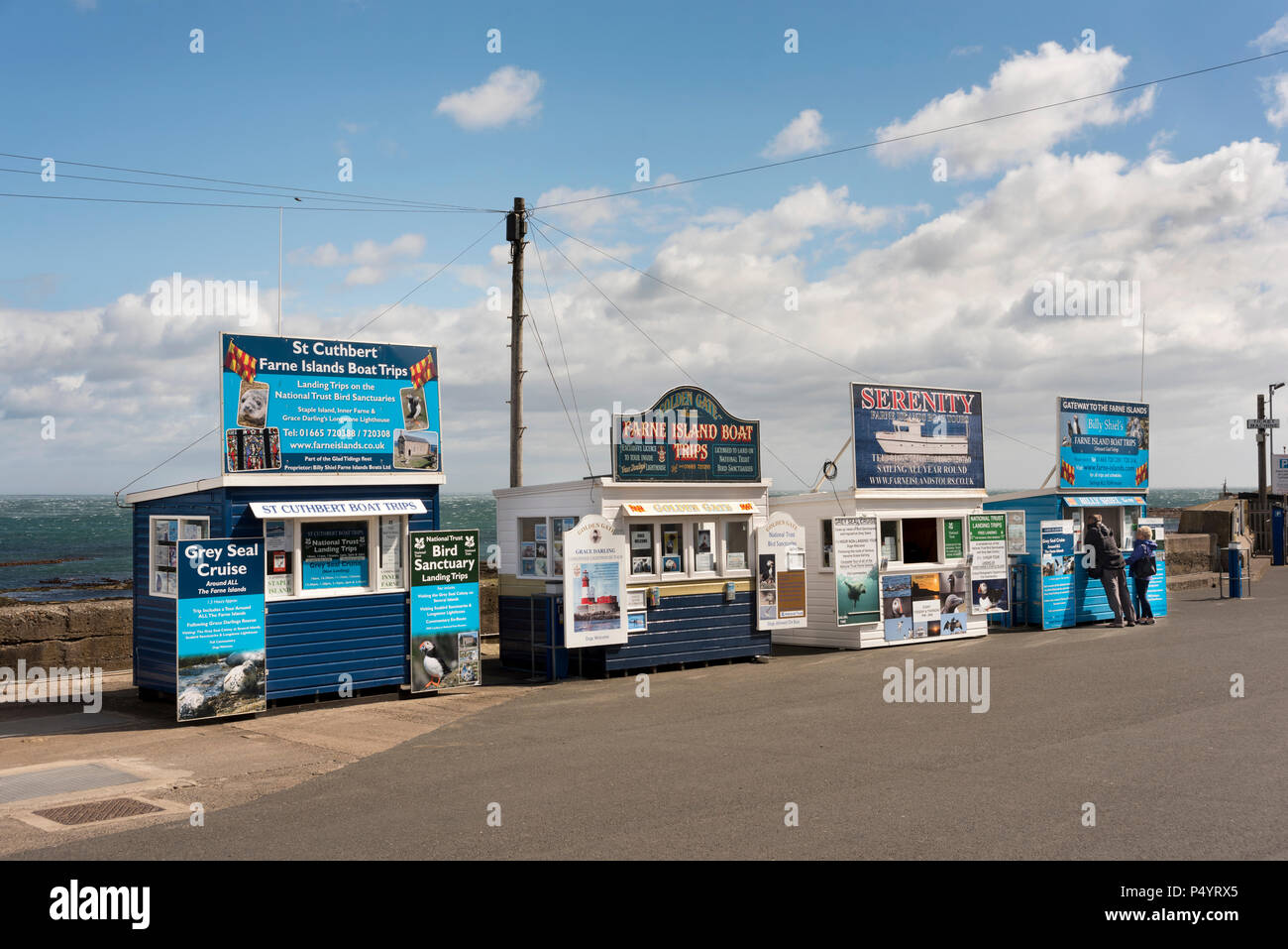 Kiosks selling tickets for Farne Islands sea trips, Seahouses harbour, Northumberland, UK - Stock Image