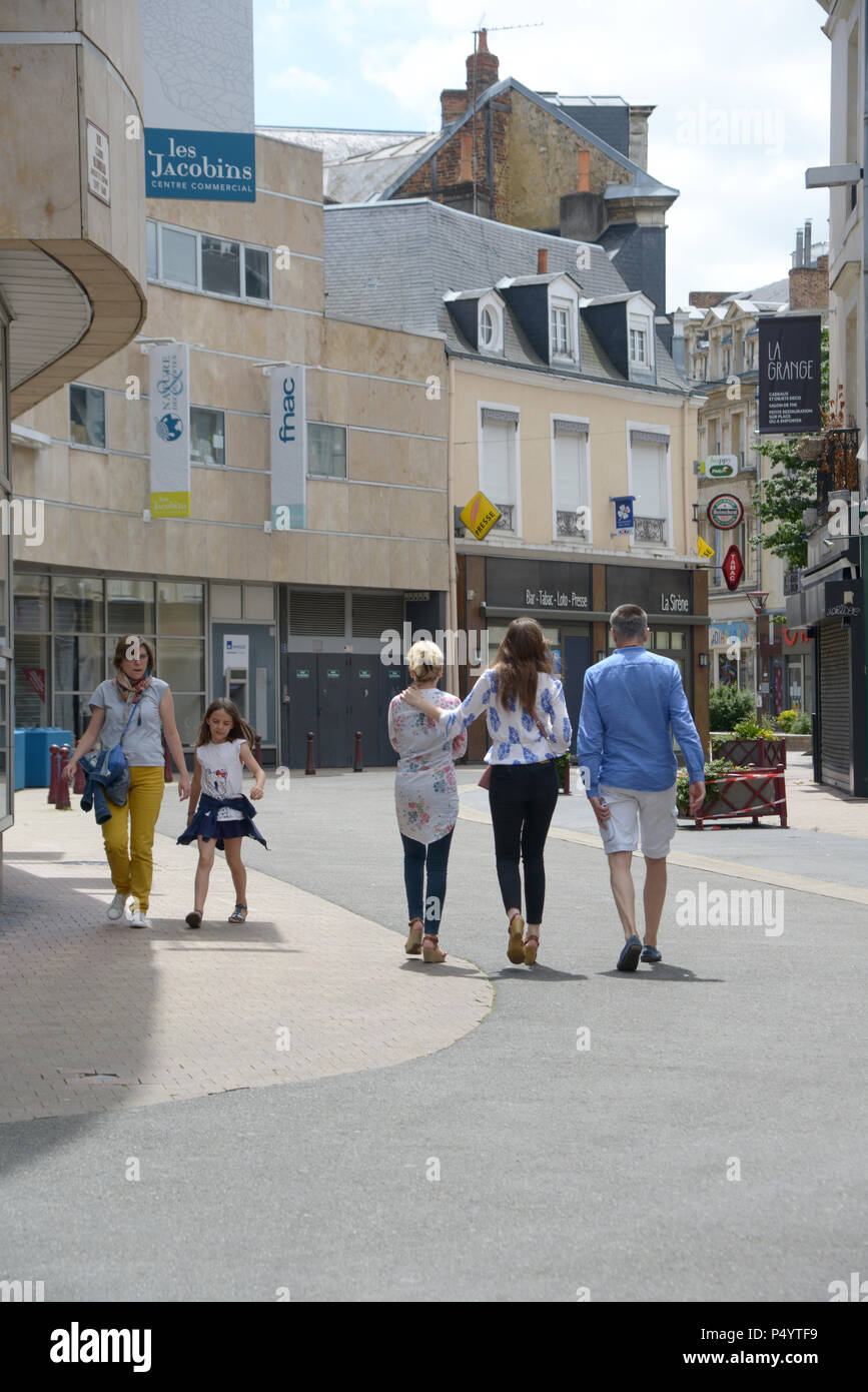 People wandering the streets of Le Mans - Stock Image
