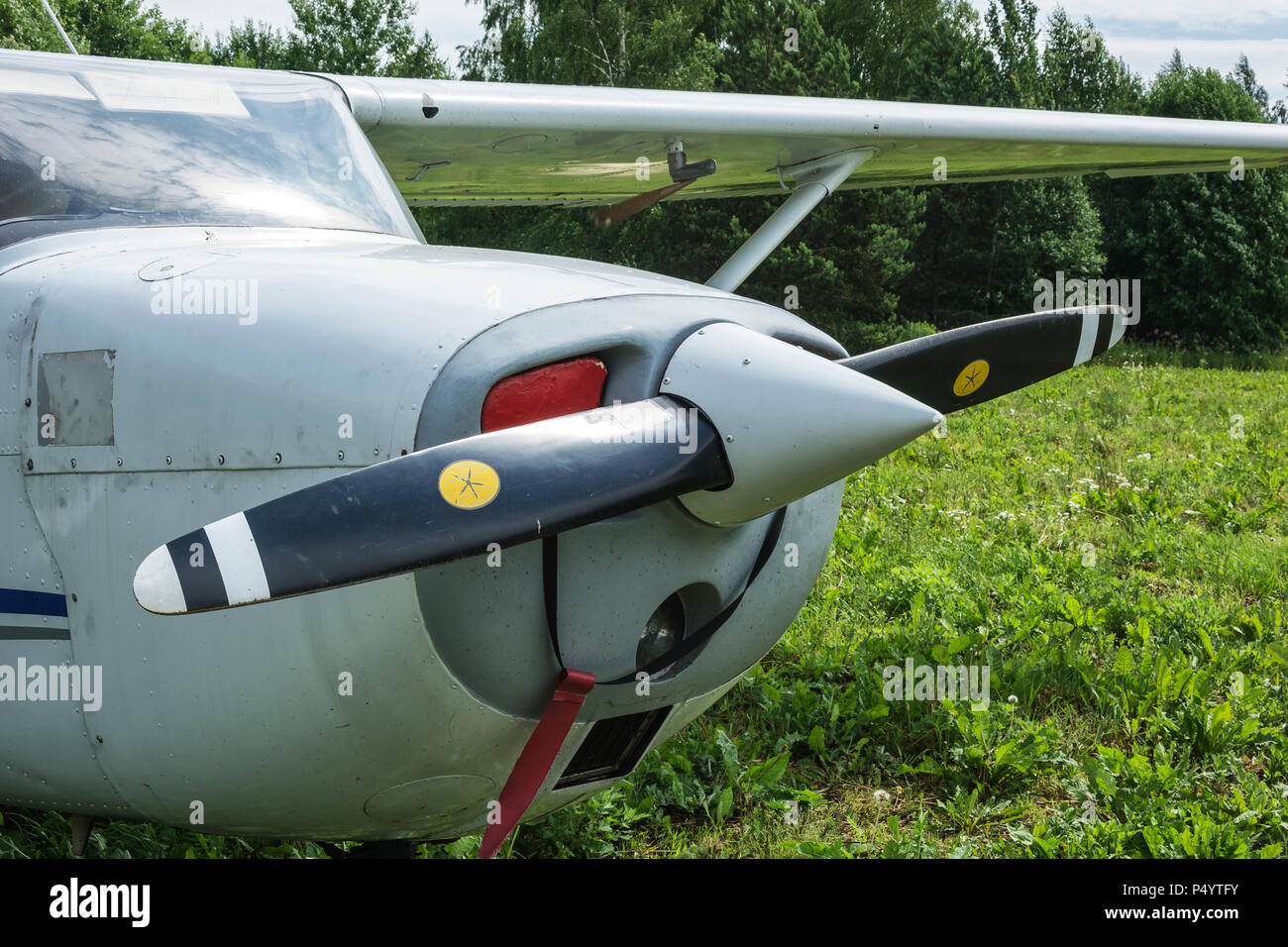 Two-bladed propeller single-engine aircraft close-up - Stock Image
