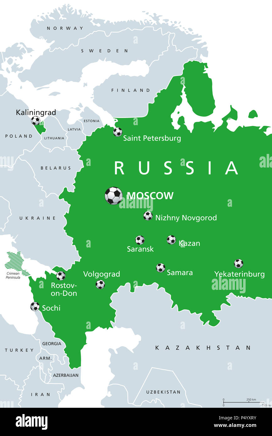 Football In Russia 2018 Map Of Venues Soccer European And Western
