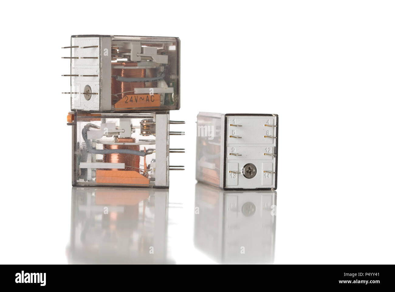 Electrical Relay Switch Stock Photos Power Three Control Relays On White Image