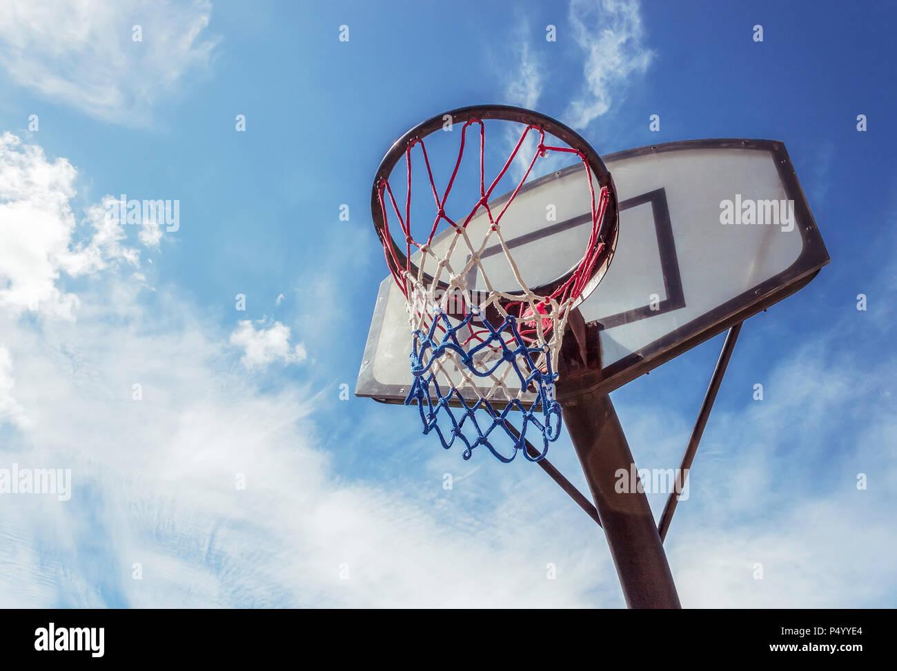 Basketball goal net in fine day - Stock Image