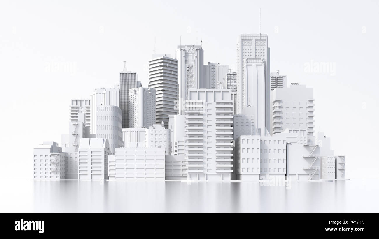 Model of a city, 3d rendering Stock Photo: 209597465 - Alamy