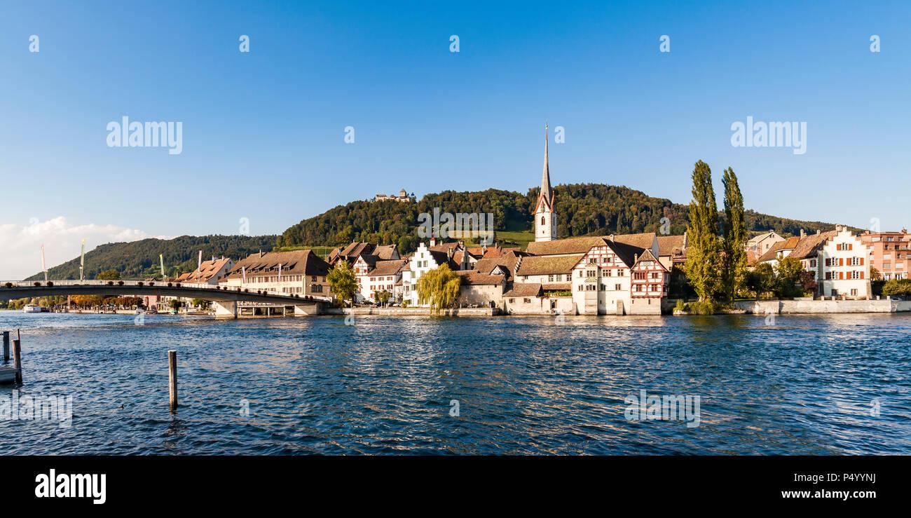 Switzerland, Canton of Schaffhausen, Stein am Rhein, Rhine river, Old town, St. George's Abbey and Hohenklingen Castle Stock Photo