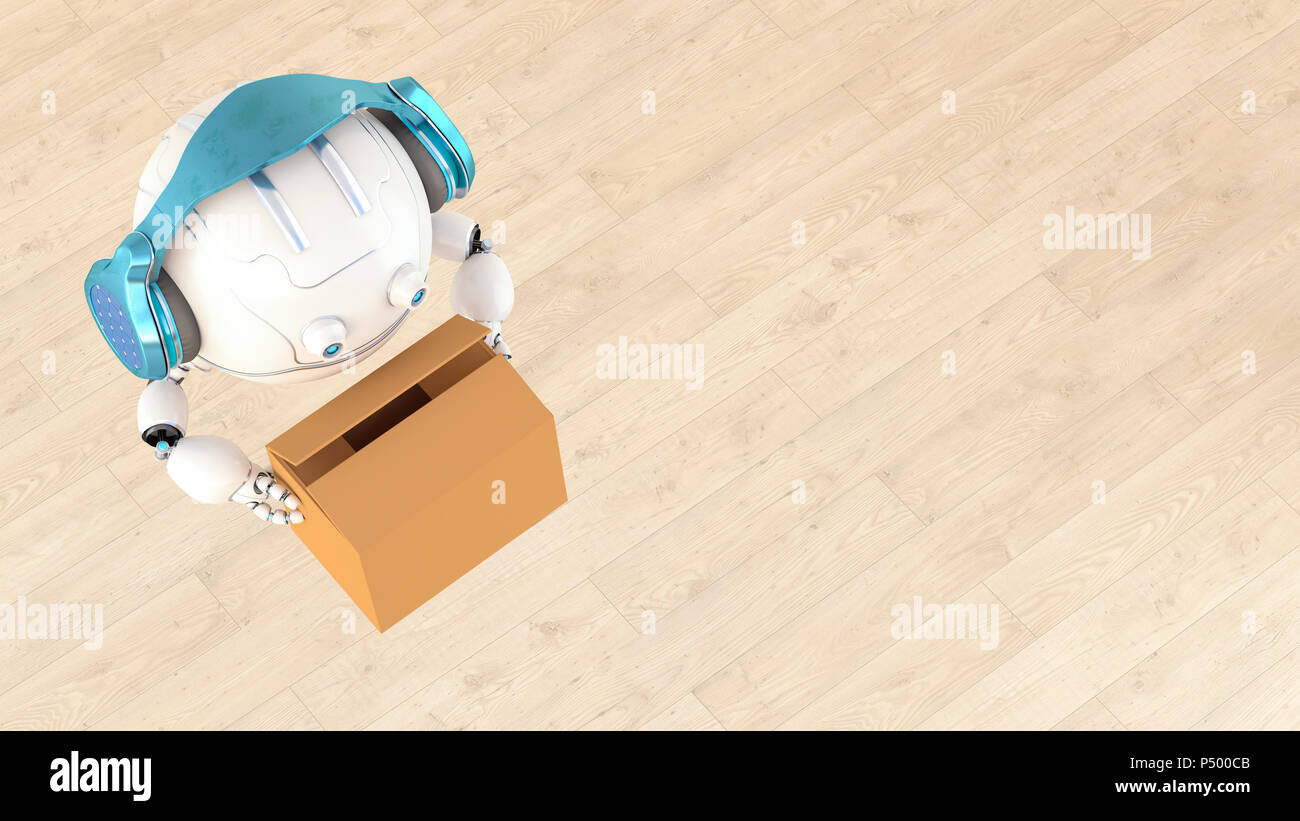 Robotic drone carrying cardboard box, 3d rendering - Stock Image
